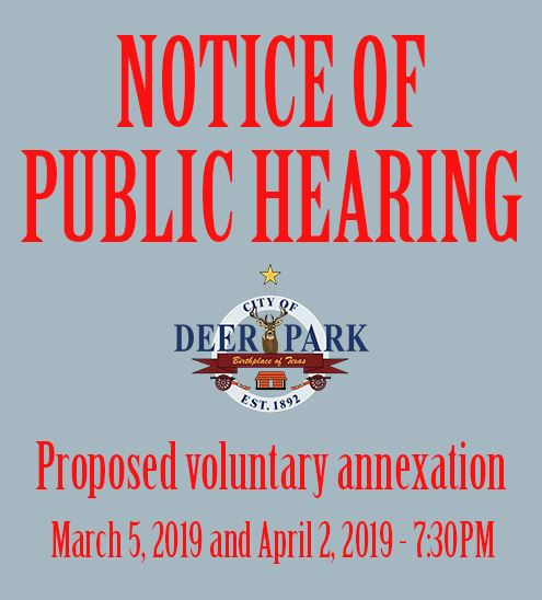 Notice of Public Hearing - Proposed Voluntary Annexation