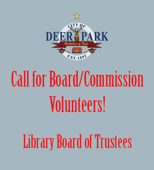 Board-Commission volunteer call - Library Board of Trustees