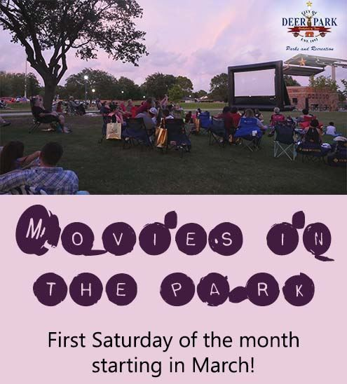 "Text reads ""Movies in the Park first Saturday of each month starting in March"" - photo of fami"