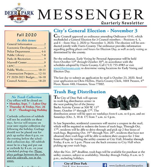 Fall 2020 Messenger news item